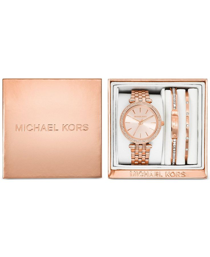 Michael Kors Women\u0026#39;s Mini Darci Rose Gold-Tone Stainless Steel Bracelet Watch Gift Set 33mm