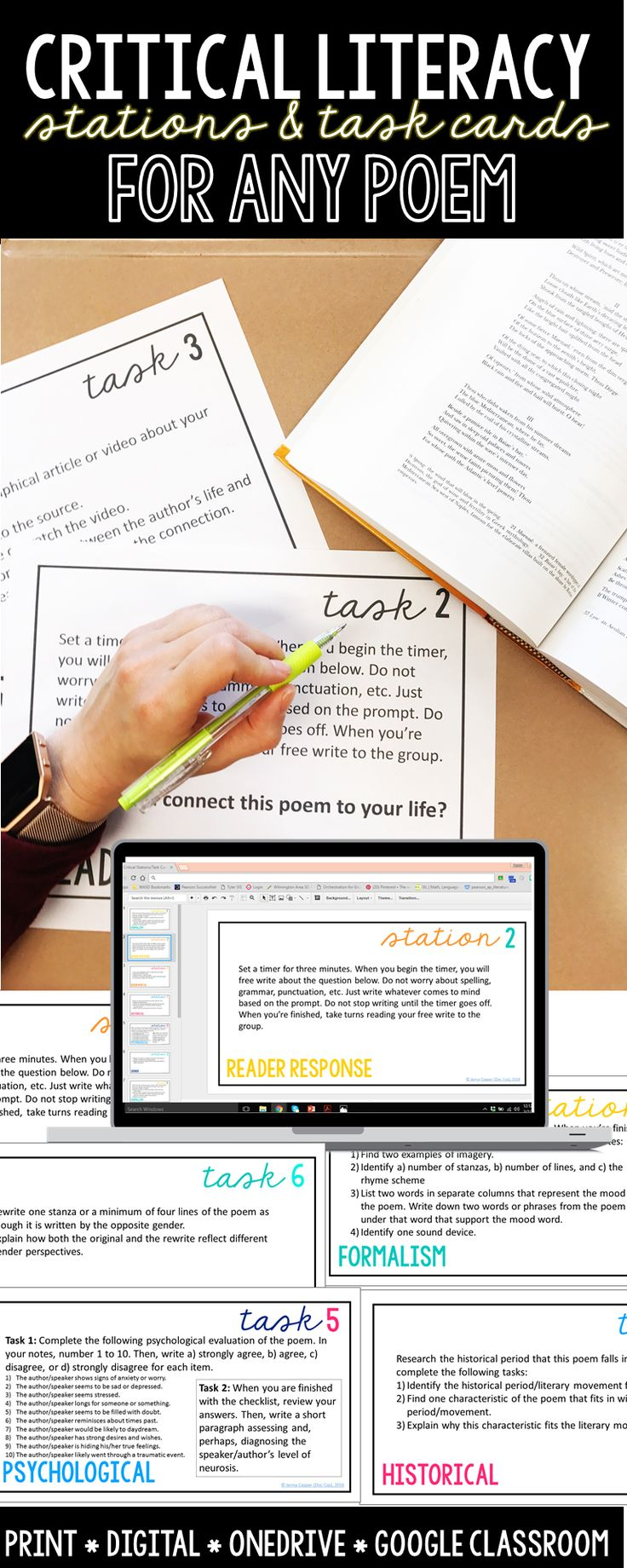 Use multiple perspectives to analyze any poem--tasks cards or stations, digital or print!