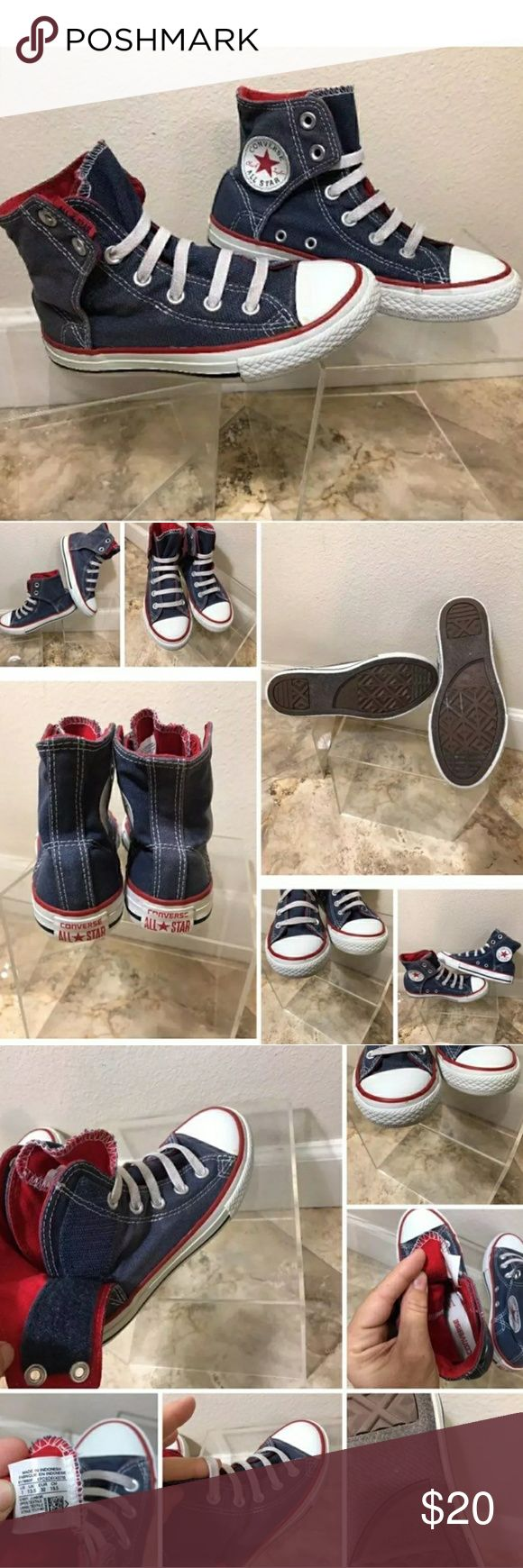 Converse Shoes PRICED TO SALE Like New size 2 kids converse high tops.  No tie easy to slip on with velcro sides.  Super cute! My son is autistic and has sensory disorder and did not like the shoes coming up that high.  My loss your gain. Offers Welcome! Converse Shoes Sneakers