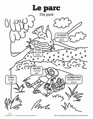 First Grade French Foreign Language Worksheets: Picnic in French