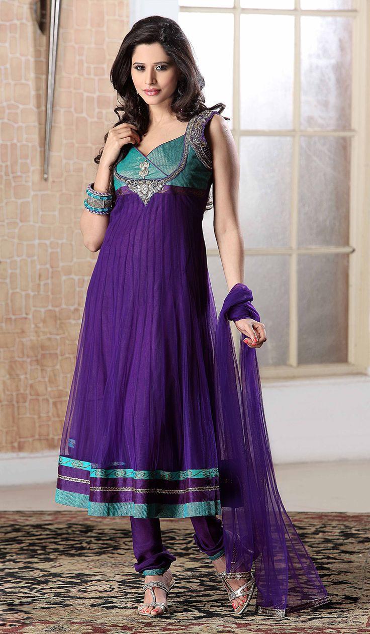 Bollywood Salwar Kameez | Dark Blue Net Indian Fashion Salwar Kameez