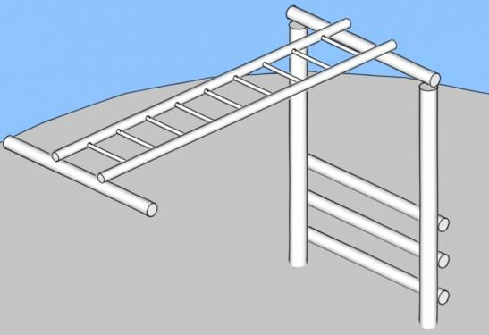 Monkey Bars - Metal. This is a challenging piece of equipment that exercises the upper body. Design by Playground Ideas. Create a free user account at www.playgroundideas.org to view full element description and step-by-step DIY instructions.