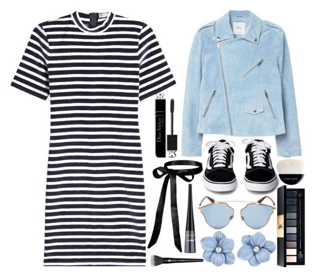 """Striped Dress"" by princess13inred ❤ liked on Polyvore featuring T By Alexander Wang, MANGO, Christian Dior, John Lewis, Giorgio Armani and Lancôme"