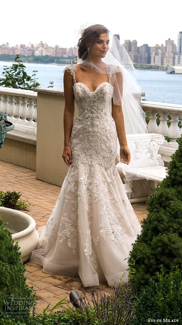 Eve of Milady #couture fall 2015 beaded strap sweetheart neckline beaded appliques lace embroidery mermaid #wedding dress 4341 #bridal