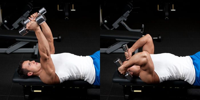 Lying Dumbbell Triceps Extension. Tricep skull crushers ...