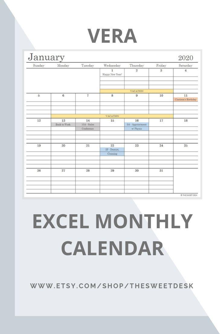Editable 2020 Excel Calendar Template Printable Minimalist