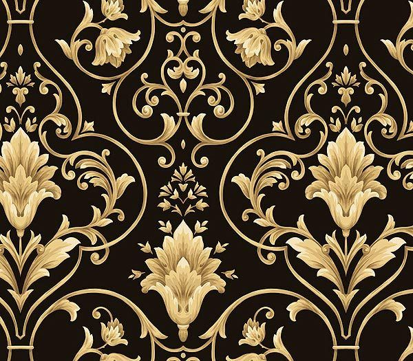 7 best images about wallpapers on pinterest black gold for Black white damask wallpaper mural