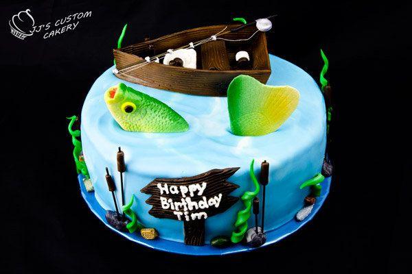Gone Fishing Birthday Cake - by jjscustomcakery @ CakesDecor.com - cake decorating website