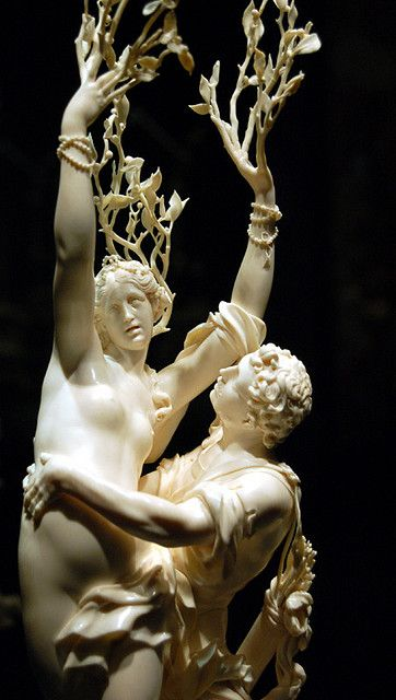 one of the iconic pieces of the Borghese Gallery, in Rome. This is a scene from Ovid's Metamorphosis that Bernini brings to life in marble- the nymph's toes are becoming roots and her fingers the leaves of the laurel tree, just as swift-footed Apollo reaches out to snatch her away. Apollo and Daphne. Gian Lorenzo Bernini,1624.
