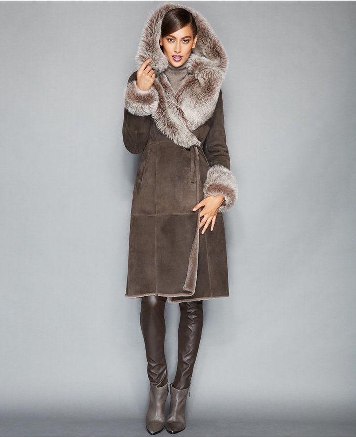 Manteau mouton retourne capuche