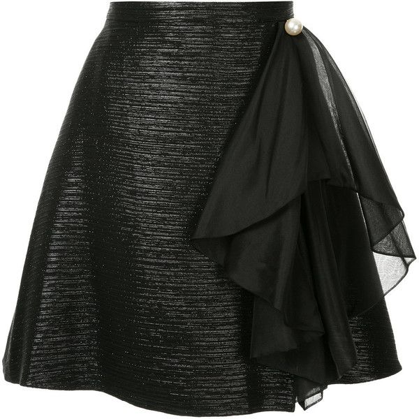 Ingie Paris fitted drape detail skirt (1 855 BGN) ❤ liked on Polyvore featuring skirts, black, fitted skirts, high waisted skirts, high waisted knee length skirt, high-waist skirt and draped skirts