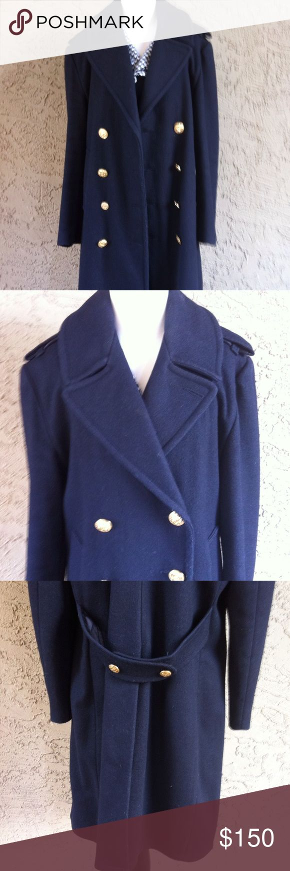 *LIKE NEW* Vintage Fox Knapp Wool Navy Pea Coat Size 40 Fox Knapp wool fully lined long sleeve very dark navy pea coat with functioning buttons and holes on both sides of coat as well as two front *pockets lined with fleece* for extra warmth and button up slit in back. This coat is vintage but it is in EXCELLENT *LIKE NEW* condition with no damage or staining. Fox Knapp Jackets & Coats Pea Coats