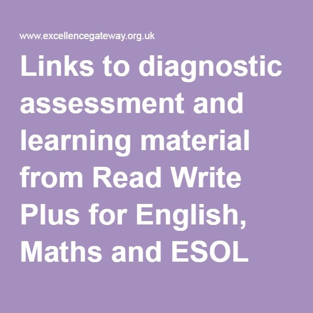 Links to diagnostic assessment and learning material from Read Write Plus for English, Maths and ESOL (including audio files) | Excellence Gateway