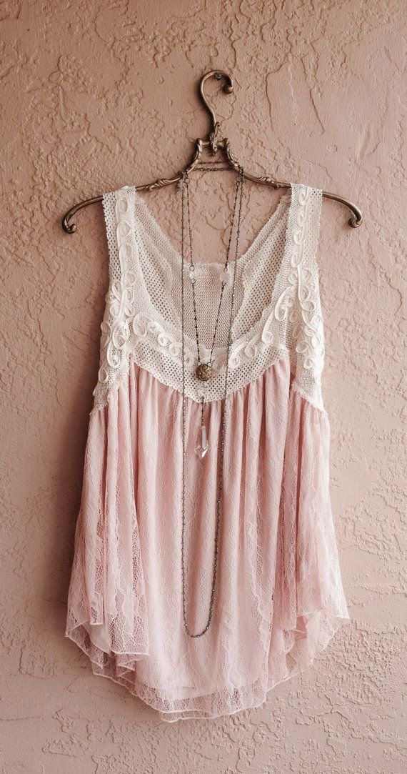 Romantic bohemian gypsy tunic with nude blush lace and crochet neckline