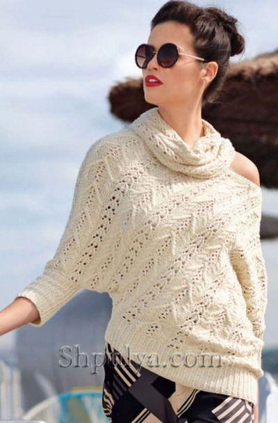 Асимметричный пуловер и снуд спицами