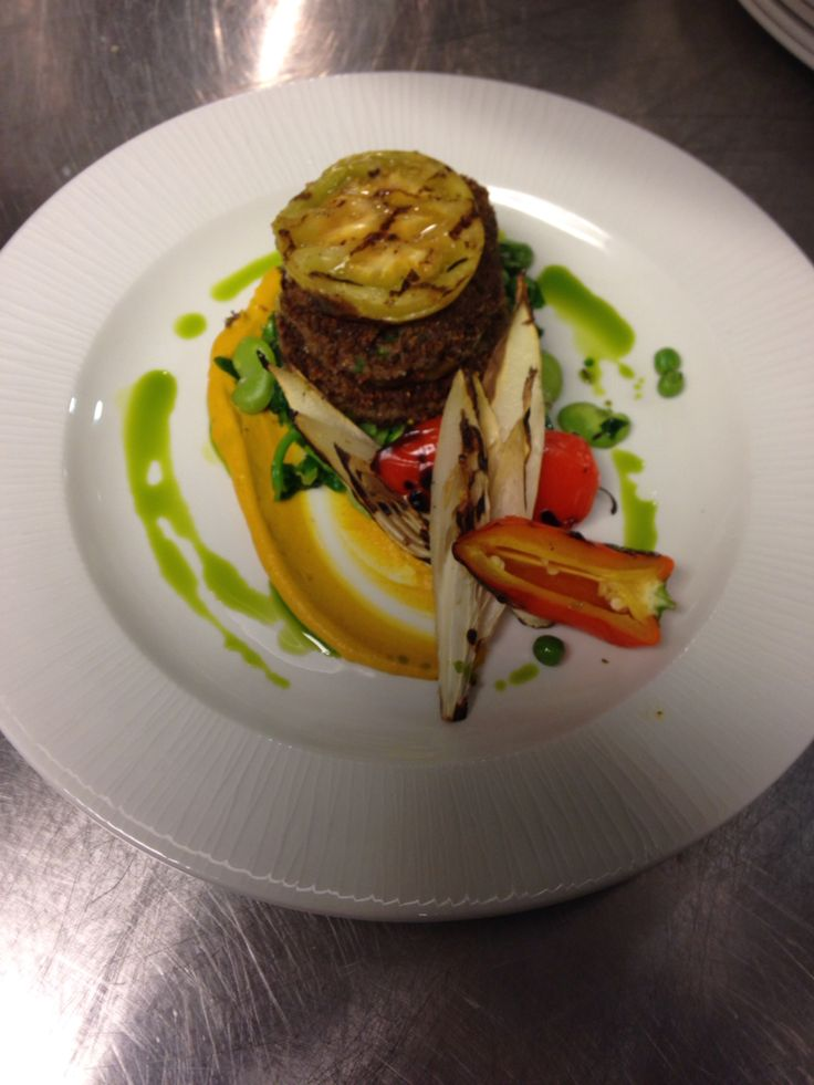 Fried short rib cake, grilled green tomato, roasted yellow beet