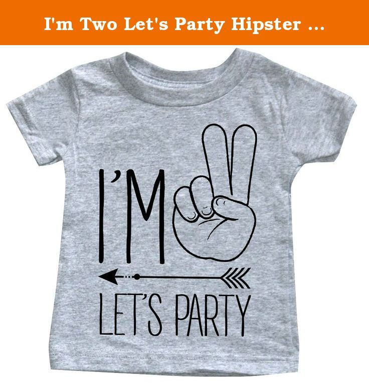 "I'm Two Let's Party Hipster Arrow 2nd Birthday T-shirt (3T, Heather Grey). 4.5oz. 100% Ringspun Cotton (Heather is 93/7) Infant Shirt Sizes: 6M = Body length 12.5in / Body width 10in 12M = Body length 13.5in / Body width 11in 18M = Body length 14.5in / Body width 12in 24M = Body length 15.5in / Body width 13in 4.5oz. 100% Ringspun Cotton Toddler Sizes: 2T Chest 13"" Length 15.5"" 3T Chest 14"" Length 16.5"" ."