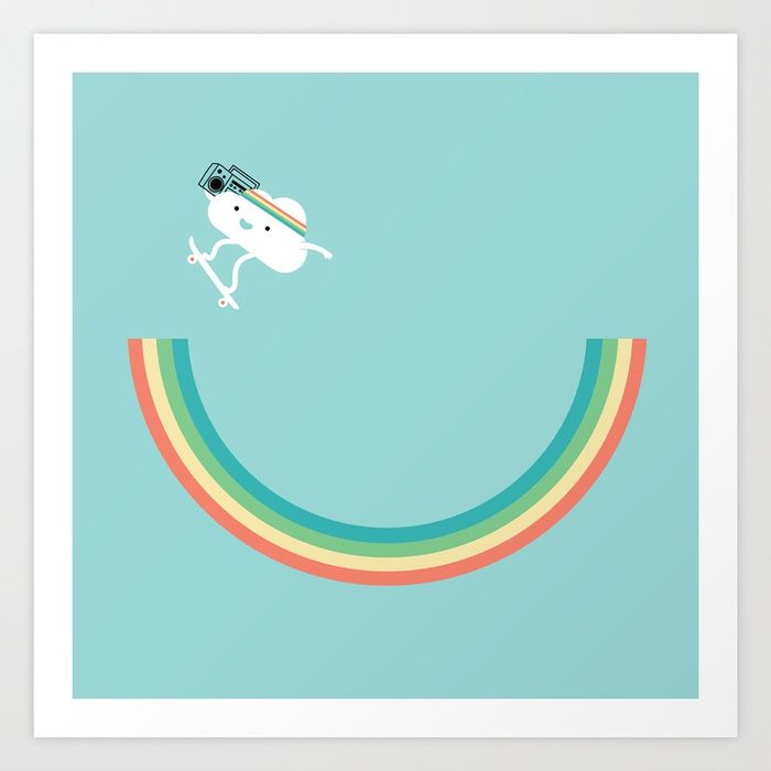Buy Skateboarding cloud Art Print by ilovedoodle. Worldwide shipping available at Society6.com. Just one of millions of high quality products available.