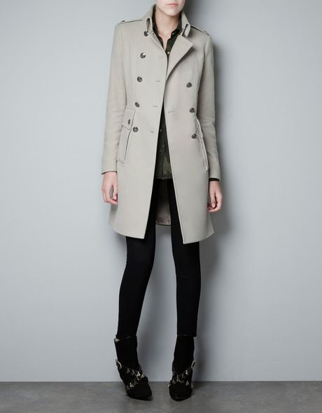 Zara Beige Velveton Military Coat