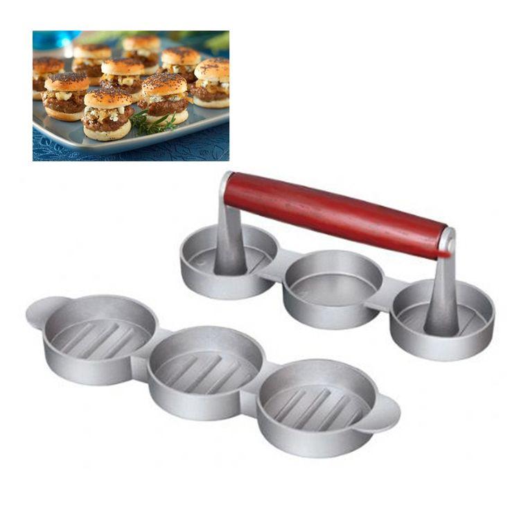 3 slot hamburger presses Burger Press Maker Patty Press Hamburger Grill BBQ Party Maker Meat Pie  Press Kitchen Tool Dia2.5''