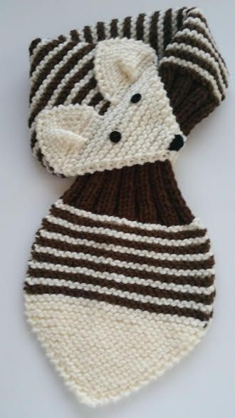 KIDS Adjustable Stripe Fox Scarf Hand Knit scarf / Neck warmer