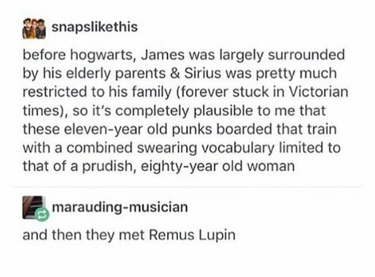 Remus Lupin had a mouth like no other. His swearing vocabulary was longer than the Golden Gate Bridge