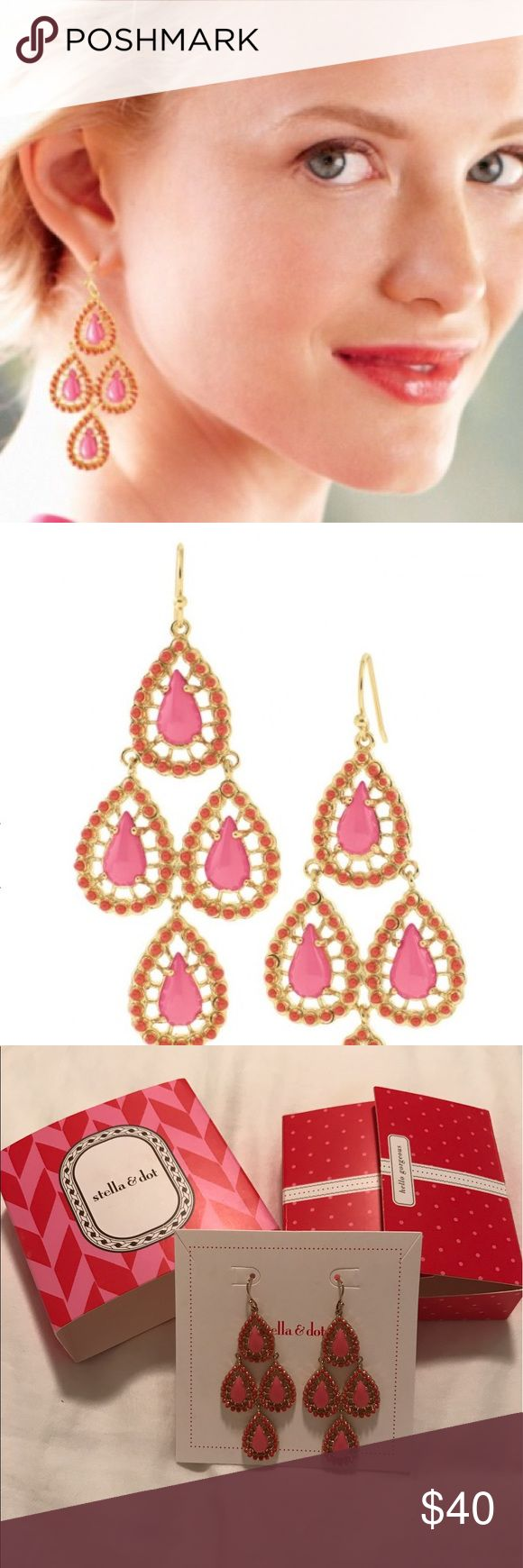 Seychelles Chandelier Earrings Stella and Dot Seychelles chandelier earrings. Teardrop chandeliers with handpainted fuchsia enamel. Sterling silver with gold plate. 2.25 inches long. Statement weight. Great fun pair of earrings! Brand new. Box & all packaging shown included.                                            💎 Bundle & Save 10% on 2+ items 💎 No Trades Stella & Dot Jewelry Earrings