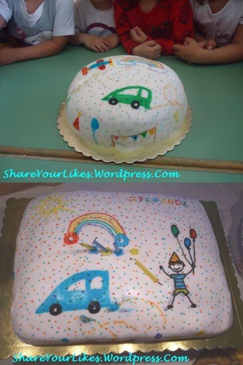 Τούρτα Παιδική Ζωγραφιά Έξω, Ουράνιο Τόξο Μέσα!