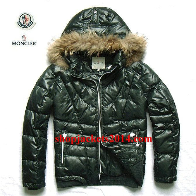 Moncler Outlet UK Mens Down Jackets with Fur Hood Green
