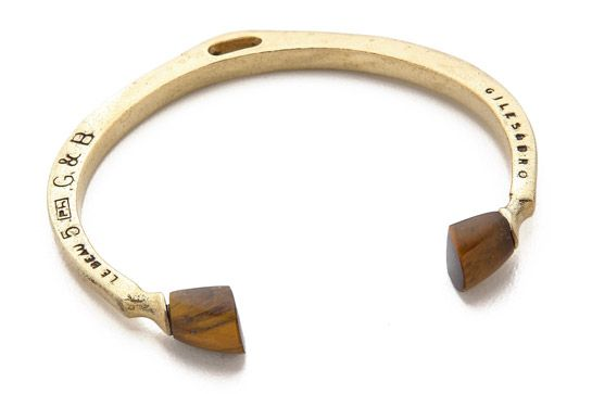 "The Meaning Behind Your Zodiac Birthstone #refinery29  http://www.refinery29.com/zodiac-birthstones#slide13  Tiger's eye is also a good stone for Leos; it could ""tone down Leos' tendency to be snobbish,"" says Mégemont.  Giles & Brother Skinny Stone Pied De Biche Cuff Bracelet, $135, available at Giles & Brother."