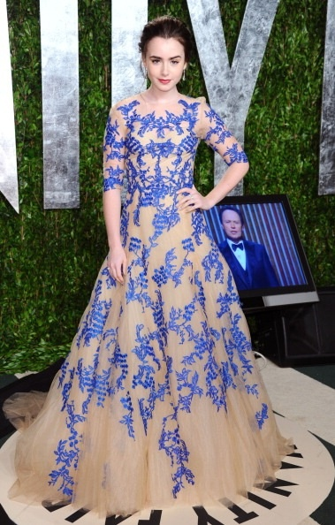 Lily Collins in Monique Lhuillier at the Vanity Fair Oscars after party.