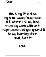 Mrs. Heeren's Happenings: Open House Activities -Poem/Letter to Parents - I found a poem online a few years ago that I have my students copy on a writing template.  They leave this poem on their desks for their parents to see.  I lay an envelope and stationary on the students' desks so parents can write a note back to them.