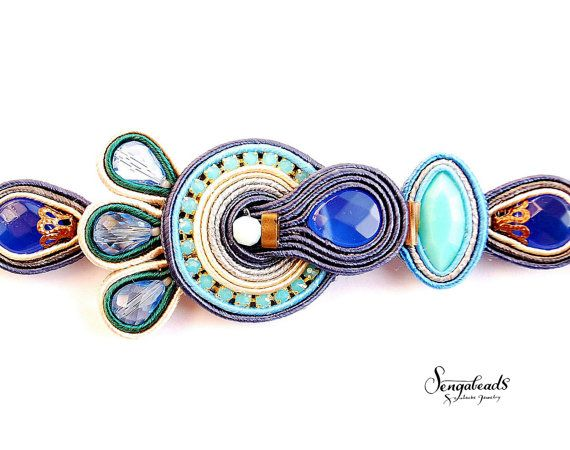 Wonderful hand embroidered soutache bracelet for by Sengabeads