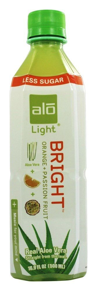 $1.72 ALO - Original Aloe Drink Bright Light Aloe Vera + Orange + Passion Fruit - 16.9 oz.