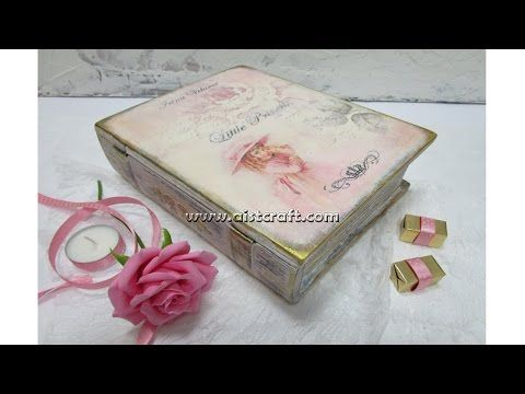 Decoupage tutorial - DIY. How to decorate a book treasure box. Vintage style. - YouTube