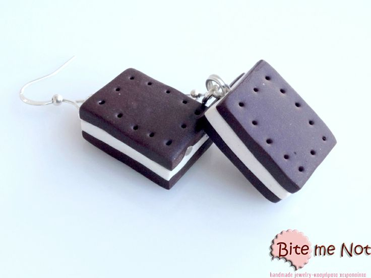 Biscuit vanilla ice cream! Silver plated hook earrings,biscuit vanilla ice cream made from polymer clay