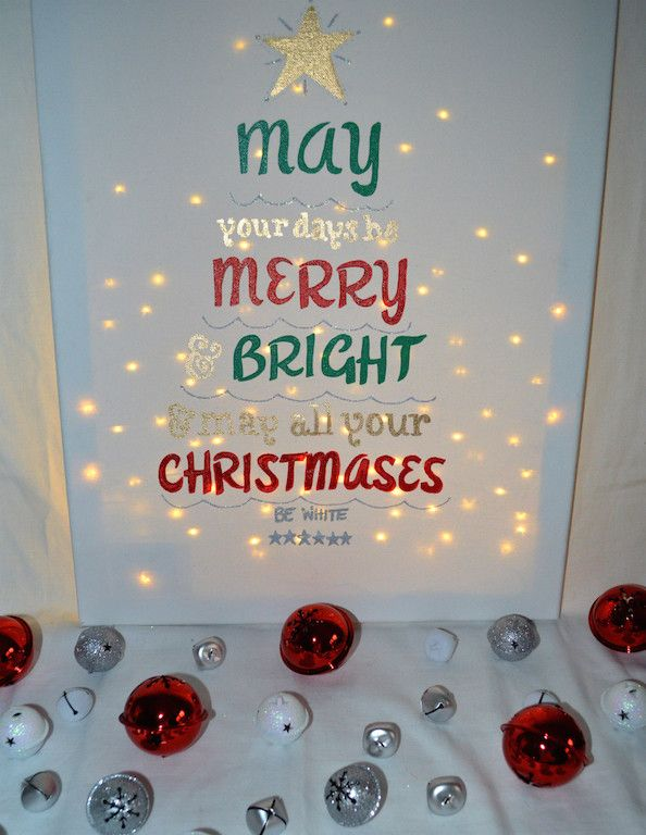 """- Custom picked fonts hand painted onto 12x16 stretched canvas - """"May your days be Merry & Bright and may all your christmases be white"""" In red, green and gold lettering with silver glitter accents -"""