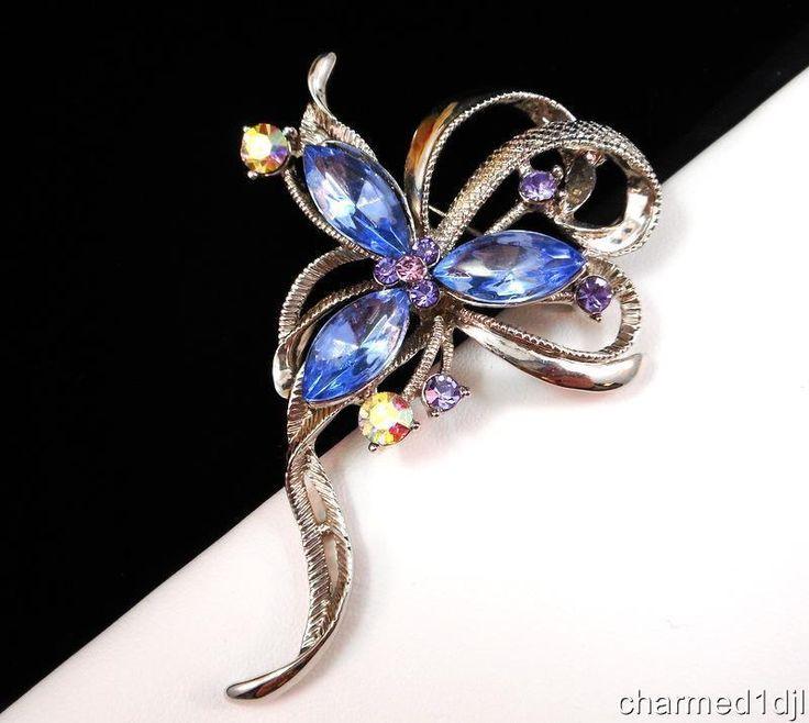 Vintage Blue Rhinestone Floral Ribbon Brooch Silver Tone AB Crystal Accents #Unbranded