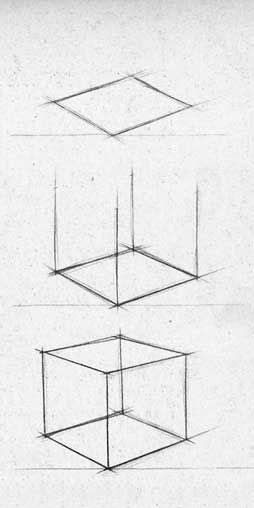 Школа рисования New Art Intention. Уроки рисования карандашом. Учимся рисовать куб.