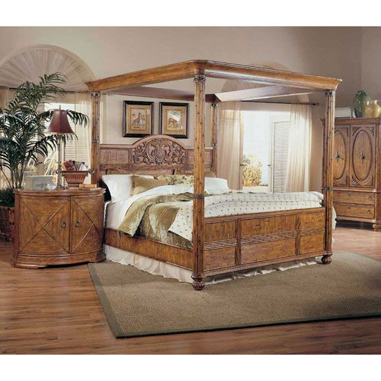 Tropical furniture tropical retreat poster canopy for Tropical canopy bed