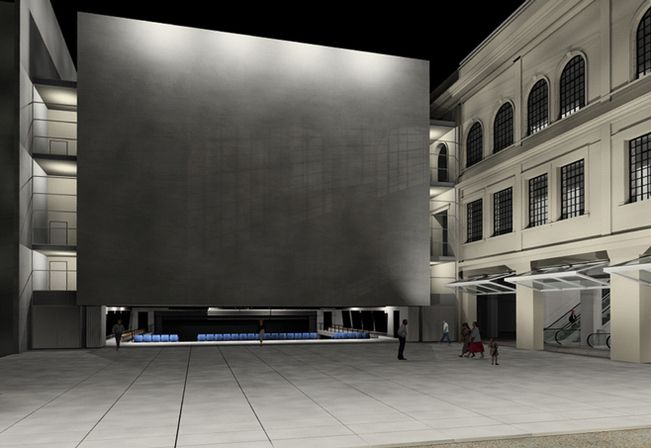 rendering do centro cultural dos correios, executado parcialmente