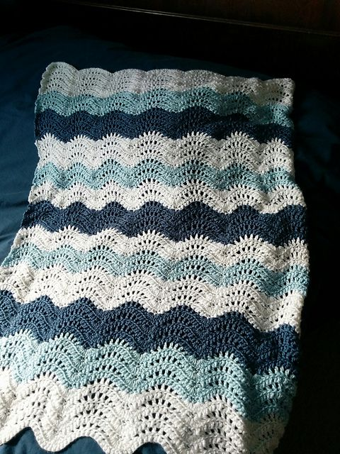 Feather and Fan Baby Blanket – free crochet pattern