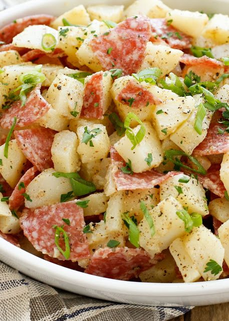 Italian Potato Salad with Salami (mayo-free recipe)- get the recipe at barefeetinthekitchen.com