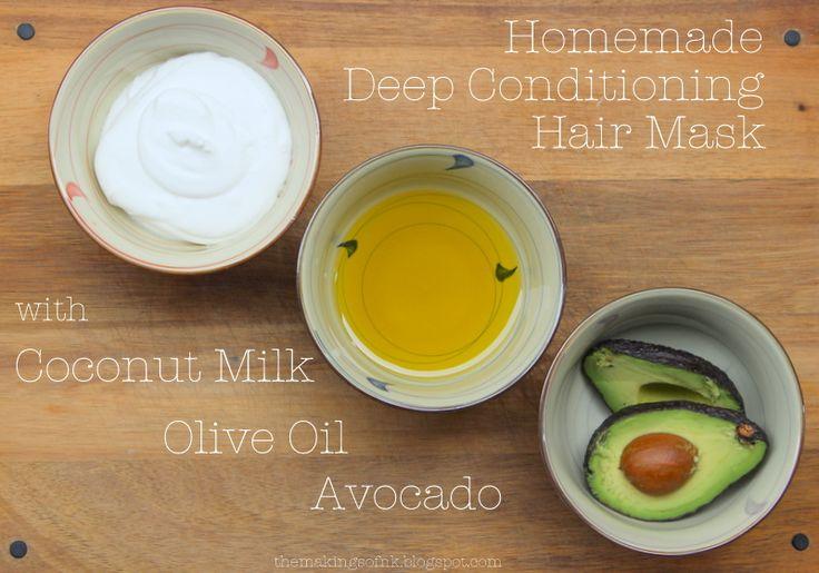 DIY hair mask: avocado, coconut milk, olive oil