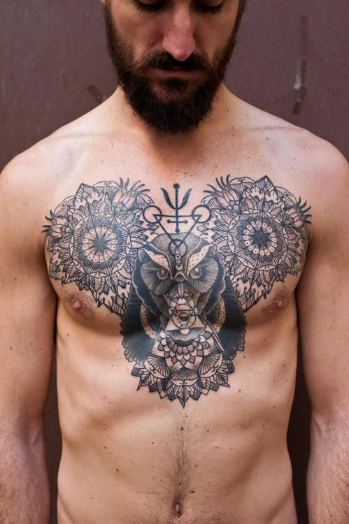 mandala & owl mickey #chest #tattoos