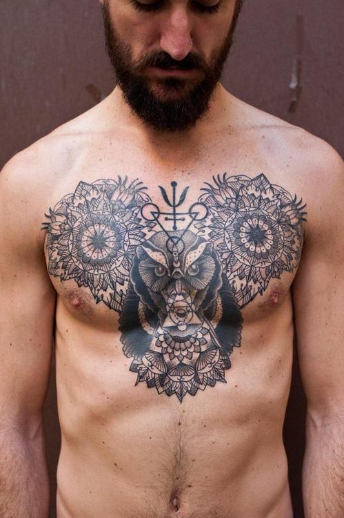 mandala & owl mickey #chest #tattoos
