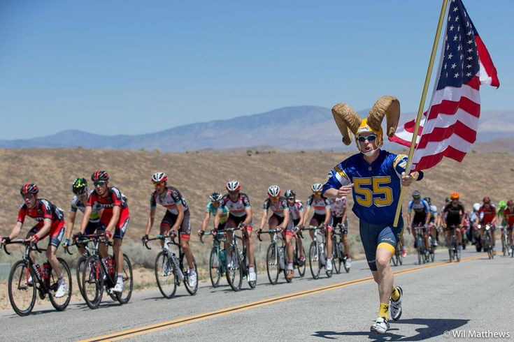 Antler Fan finds the peloton in hills outside Palmdale - Tour of California