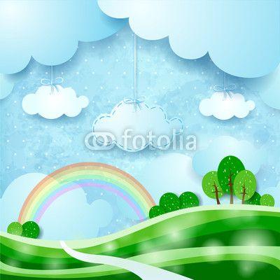 #Countryside, #fantasy illustration #vector #stockimage