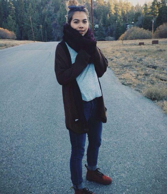 Hayley Kiyoko hobo style jeans dr martens sweater