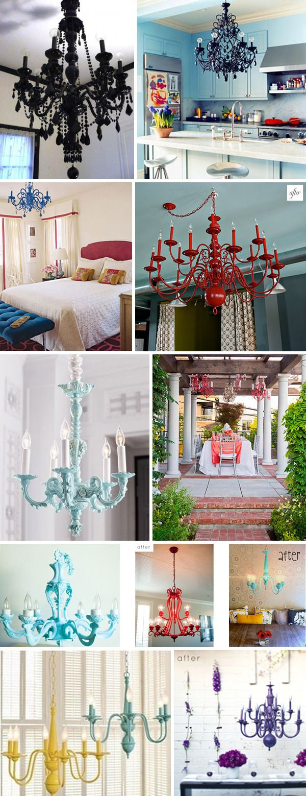 COLORFUL CHANDELIER: Spray old chandelier with metal primer, then metal spray paint. Use cord cover on old chain.